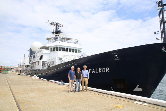 Prof Malcolm McCulloch (left), Dr Julie Trotter (centre) and  OI Director, Prof Peter Veth (right) in front of the oceanographic vessel R/V Falkor (photo credit: UWA News)